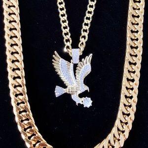 EAGLE SET FULL DIAMONDS CZ 18K GOLD CHAIN ITALY
